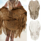 Womens Boho Kaftans Kimonos Coat Tops Summer Beach Tassel Cardigan Thin Outwear