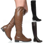 WOMENS LADIES LOW HEEL ZIP KNEE HIGH ELASTIC STRETCH GUSSET RIDING BOOTS SIZE