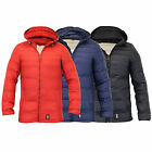 Mens Jacket Crosshatch Coat Padded Quilted Hooded Puffer Bubble Lined Winter New