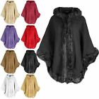 Womens Warm Winter Hood Faux Fur Lush Cape Ladies Hooded Wrap Poncho Mantle Coat