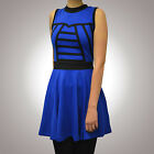 ORIGINELL UK-MODE Gr.34 XS DRESS KLEID Shirtkleid Jerseykleid BLAU SCHWARZ