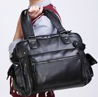 mens business casual travel envelope tote briefcase solid leather laptop bag N64