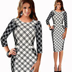 Autumn Womens 3/4 Sleeve Grid Check Printing Party Pencil Cocktail Bodycon Dress