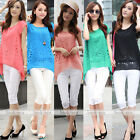 Hot Women Hollow Chiffon Short Sleeve Layers Asymmetric Tops Shirt Blouse Casual
