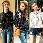 New Sexy Womens Loose Chiffon Polka Dots Tops Long Sleeve Shirt Casual Blouse