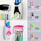 CHIC Automatic Toothpaste Dispenser + 5 Toothbrush Holder Set Wall Mount Stand