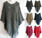 New Women Poncho Batwing Cape Knit Top Cardigan Pull Over Sweater Coat Outwear