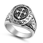 FREE SHIP! Fancy Cross SIGNET Stainless Steel Ring Size  9-14