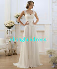 Stock White/Ivory Appliques Chiffon Wedding Dress Bridal Gown Stock Size 6 to 24