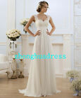 Stock White/Ivory Lace Chiffon A-line Wedding Dresses Bridal Gowns Size 6 to 24
