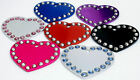 Medium / Large Colourful Crystal Heart Pet ID Dog Tag Disc, FREE ENGRAVING