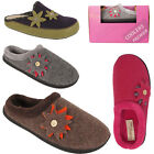 Ladies Cooler Womens Premier Felt  Flower Button Slip On Mules Comfort Slippers