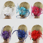 Flower Feather Fascinator Pin Hair Clip Brooch Women Lady Wedding Party Decor