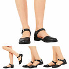 LADIES WOMENS GIRLS FLAT LOW HEEL ANKLE BUCKLE STRAP SANDALS SHOES SIZE 13-8