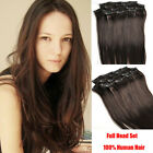 Clip In on 100% Remy Real Human Hair Extensions 70g Dark Brown