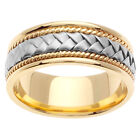 14K Two Tone Yellow White Gold Hand Braided Wedding Ring Band 8.5mm (WJRL01354)