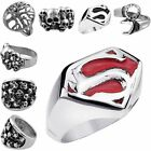 Men's Stainless Steel Superman Wrench Skull Skeleton Head Punk Finger Biker Ring
