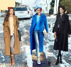 Stylish Womens Casual Woolen Long Peacoat Overcoat Double-Breasted Trench Coat