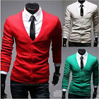 Fashion Men's Casual Cardigan Sweater Slim Fit Solid Long Sleeve V-neck Knitwear