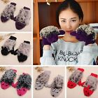 Women Lady Girls Warm Winter Gloves Mittens Knit Wool Fleece Cartoon Hedgehog
