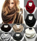 New Men Women Wool Knit Winter Warm Knitted Neck Circle Cowl Snood Scarf