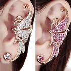 1PCS WOMENS STUNNING CRYSTAL EAR CLIP CLAMP BUTTERFLY WING LEFT EAR STUD EARRING