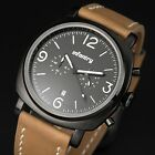INFANTRY Aviator Military Chrono Quartz Diver Sport Luminous Mens Leather Watch