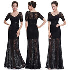 Ever Pretty Sexy V-neck Lace Black Long Evening Party Formal Dress 08670