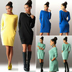 Womens Long Sleeve Pocket Mini Dress Ladies Casual Sport Pullover Jumper Dress