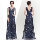 Women's Elegant Navy Blue Sequins V-neck Long Prom Evening Formal Dress 08669