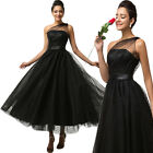 BLACK Masquerade Formal Evening Party COCKTAIL Ball Gown Wedding Long Prom Dress