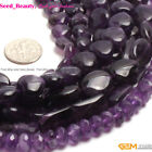 """Smooth&Faceted Natural Amethyst Gemstone Jewelry Making Beads Strand 15"""" Purple"""