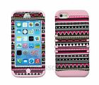 For iPhone 5C Pink Tribal Design RKR Hard&Rubber Hybrid Rugged Armor Case Cover