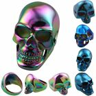 Men's Skull Skeleton 316L Stainless Steel Biker Smooth Colorful Punk Ring Rings
