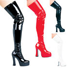 "5"" Chunky Heel Thigh High Stretch Boots"
