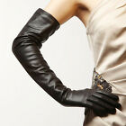 60cm long plain opera top goat leather russia long leather gloves black discount