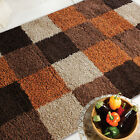 LARGE MEDIUM SMALL MODERN 5cm PILE NORDIC ANDES BLOCKS ORANGE BROWN SHAGGY RUGS