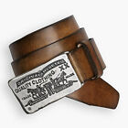 MENS LEVIS TWO HORSE REAL LEATHER LARGE BUCKLE BELT FORT - TAN