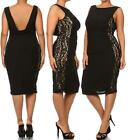 PLUS SIZE BLACK LACE COCKTAIL DRESS Sleeveless Floral Design Evening 1X 2X 3X