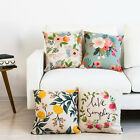 """Countryside Beauty Flower & Leaves Pillow Case Cushion Cover Square 18"""" Linen"""