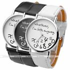 Pu Leather Quartz Funny Words Casual Pretty Simple Fashion Woman Watch Gift