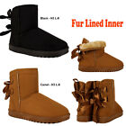 Kawai Ladies Women Flat Fur Lined Winter Snug Warm Ankle Bow Boots Shoes Size