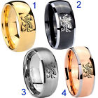 Tungsten Dragon Design 8MM Dome Gold IP Black Silver Rose Men's Ring