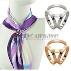 Hot Fashion Gold Plated Three Ring Silk Scarf Buckle Clip Brooch Pin Glamorous