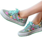 2016 New Women Fashion Canvas Womens Flower Lace up Shoes Sneakers Floral Shoes
