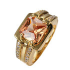 Chunky Champagne topaz Rings Sz 10  Women/Mens 10KT Yellow Gold Filled Jewelry
