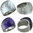 Unisex Curved Section Faceted Crystal Stainless Steel Ring Promise of Engagement