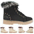WOMENS LACE UP LADIES FUR LINED WINTER WARM SNOW ANKLE SHOES BOOTS SIZE 3-8