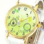 Green Fresh Numerals Dial Bicycle Leather Band Bike Women's Quartz Wrist Watches