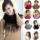 YY Infinity 2 Circle Cable Knit Cowl Neck Long Tassel Scarf Shawl Winter Warm CC